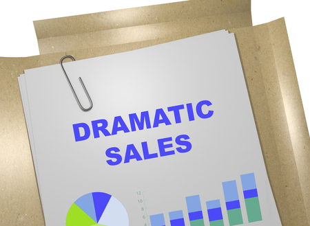 dramatic: 3D illustration of DRAMATIC SALES title on business document. Business concept.