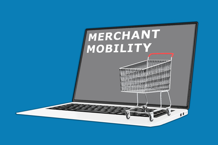 merchant: 3D illustration of MERCHANT MOBILITY script with a supermarket cart placed on the keyboard. Consumerism concept. Stock Photo