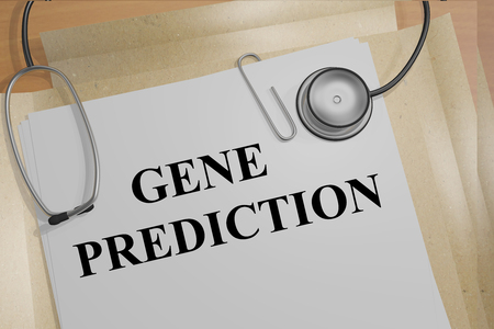 3D illustration of GENE PREDICTION title on medical documents. Medical research concept.