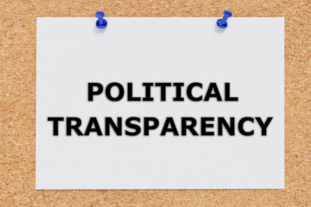 boodle: 3D illustration of POLITICAL TRANSPARENCY on cork board. Political concept. Stock Photo