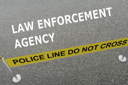 illegal act: Render illustration of LAW ENFORCEMENT AGENCY title on the ground in a police arena. Police concept Stock Photo