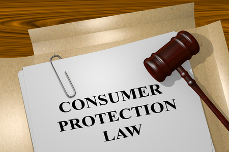 consumer: 3D illustration of CONSUMER PROTECTION LAW title on Legal Documents. Legal concept.