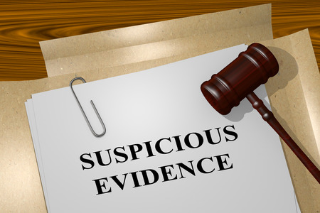 suspicious: 3D illustration of SUSPICIOUS EVIDENCE title on Legal Documents. Legal concept. Stock Photo