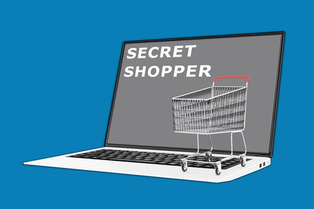 spotter: 3D illustration of SECRET SHOPPER script with a supermarket cart placed on the keyboard. Consumerism concept.