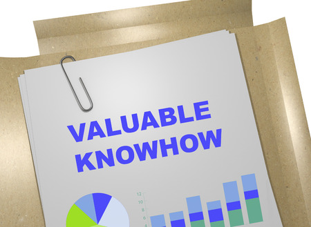 valuable: 3D illustration of VALUABLE KNOWHOW title on business document. Business concept.
