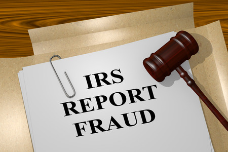 irs: 3D illustration of IRS REPORT FRAUD title on Legal Documents. Legal concept. Stock Photo