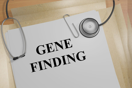 finding: 3D illustration of GENE FINDING title on medical documents. Medical research concept.