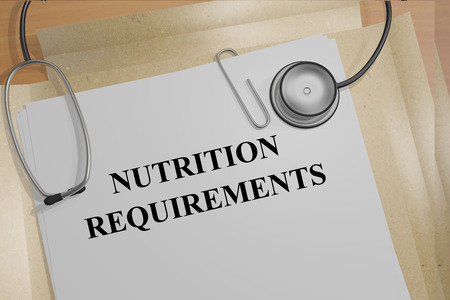 ascorbic: 3D illustration of NUTRITION REQUIREMENTS title on medical documents. Medical concept. Stock Photo