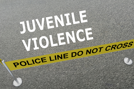 delinquency: Render illustration of JUVENILE VIOLENCE title on the ground in a police arena. Police concept