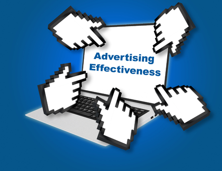 effectiveness: 3D illustration of Advertising Effectiveness script with pointing hand icons pointing at the laptop screen from all sides. Business concept. Stock Photo