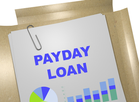 underwriter: 3D illustration of PAYDAY LOAN title on business document. Business concept.