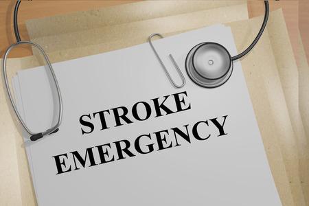 arterial: 3D illustration of STROKE EMERGENCY title on medical documents. Medical concept.