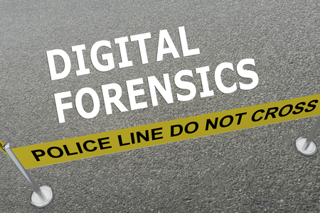 forensics: Render illustration of DIGITAL FORENSICS title on the ground in a police arena. Police concept Stock Photo