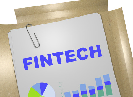 lending: 3D illustration of FINTECH title on business document. Business concept. Stock Photo