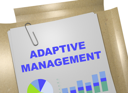 3D illustration of ADAPTIVE MANAGEMENT title on business document. Business concept.