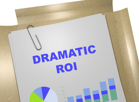 dramatic: 3D illustration of DRAMATIC ROI title on business document. Business concept.
