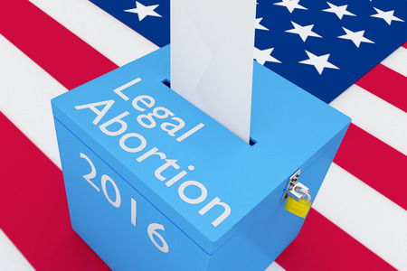 unwanted: 3D illustration of Legal Abortion, 2016 scripts and on ballot box, with US flag as a background. Women Rights concept. Stock Photo