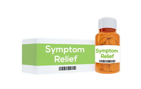 symptom: 3D illustration of Symptom Relief title on pill bottle, isolated on white. Medication concept. Stock Photo