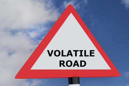 volatile: 3D illustration of VOLATILE ROAD script on road sign. Road concept. Stock Photo