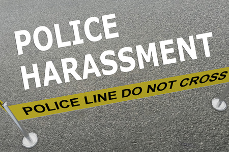 restraining: 3D illustration of HARASSMENT title on the ground in a police arena. Police concept