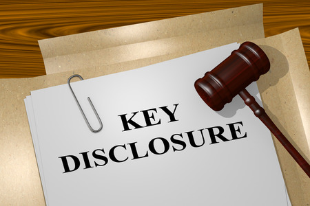 disclosure: 3D illustration of KEY DISCLOSURE title on Legal Documents. Legal concept. Stock Photo