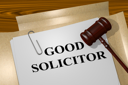 solicitor: 3D illustration of GOOD SOLICITOR title on Legal Documents. Legal concept.