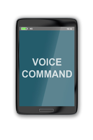 command: 3D illustration of VOICE COMMAND title on cellular screen, isolated on white. Interface concept.