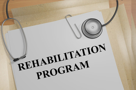 physical therapist: 3D illustration of REHABILITATION PROGRAM title on medical documents. Medical concept.