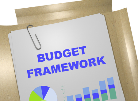 3D illustration of BUDGET FRAMEWORK title on business document. Business concept. Stock Photo