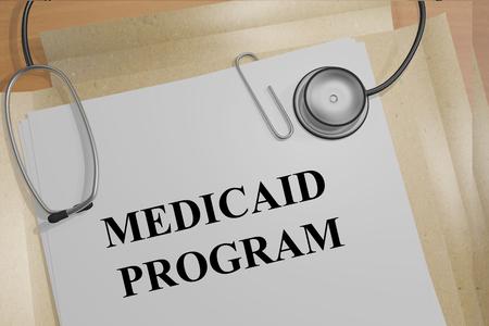 """3D illustration of """"MEDICAID PROGRAM"""" title on medical documents. Medical concept."""