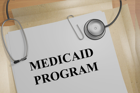 surgery costs: 3D illustration of MEDICAID PROGRAM title on medical documents. Medical concept.