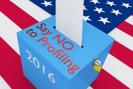 bionomics: 3D illustration of Say NO to Profiling, 2016 scripts and on ballot box, with US flag as a background. Election issue concept.