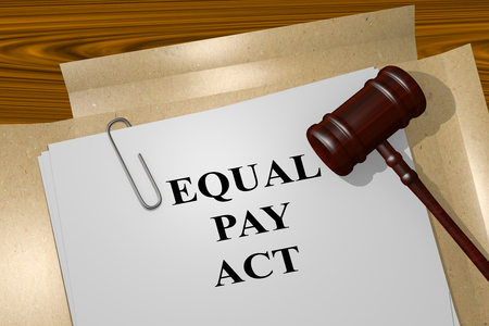underpaid: 3D illustration of EQUAL PAY ACT title on Legal Documents. Legal concept. Stock Photo
