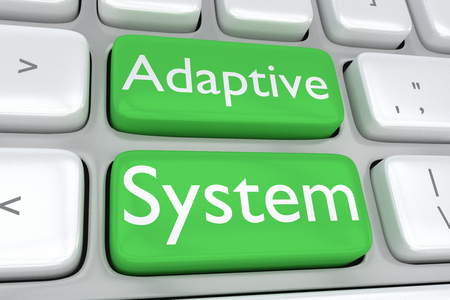 adaptive: 3D illustration of computer keyboard with the print Adaptive System on two adjacent green buttons. Software concept. Stock Photo
