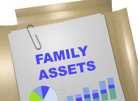 marital: 3D illustration of FAMILY ASSETS title on business document. Business concept.