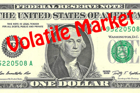 one dollar bill: Render illustration of Volatile Market title on One Dollar bill as a background. Business concept