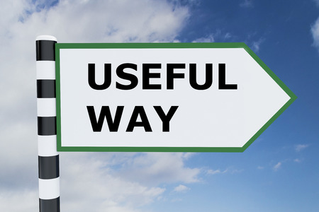 useful: 3D illustration of USEFUL WAY script on road sign. Choice concept.