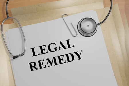 remedy: 3D illustration of LEGAL REMEDY title on medical documents. Medical concept.