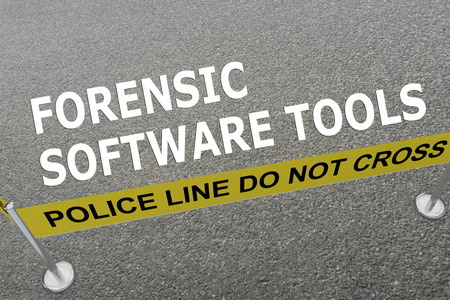 forensic: Render illustration of FORENSIC SOFTWARE TOOLS title on the ground in a police arena. Police concept