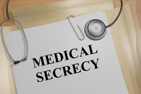 personal data privacy issues: 3D illustration of MEDICAL SECRECY title on medical documents. Ethical concept. Stock Photo