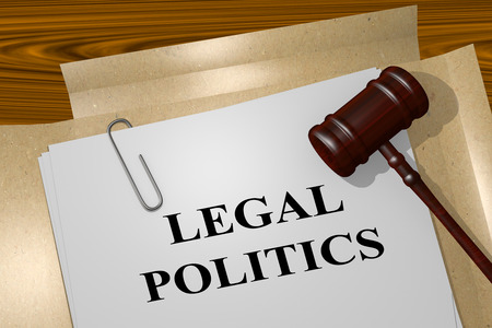 3D illustration of LEGAL POLITICS title on Legal Documents. Legal concept.