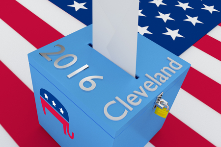 voting rights: 3D illustration of Cleveland, 2016 scripts and on ballot box, with US flag as a background. Election Concept.