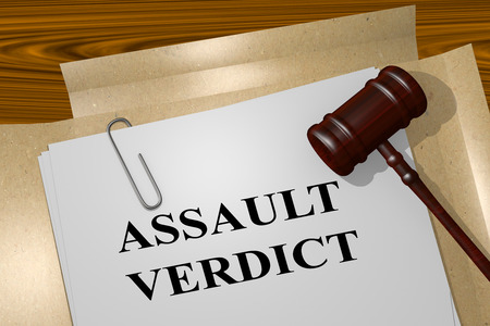 assault: 3D illustration of ASSAULT VERDICT title on Legal Documents. Legal concept. Stock Photo