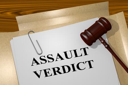 detain: 3D illustration of ASSAULT VERDICT title on Legal Documents. Legal concept. Stock Photo