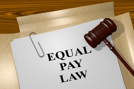 underpaid: 3D illustration of EQUAL PAY LAW title on Legal Documents. Legal concept. Stock Photo