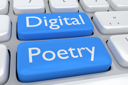 poetry: 3D illustration of computer keyboard with the script Digital Poetry on two adjacent pale blue buttons. Digital content concept.