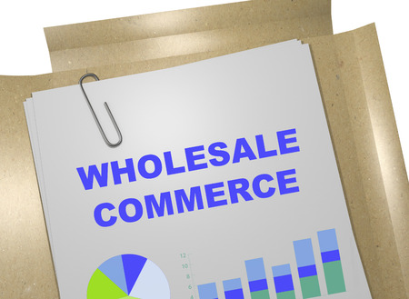 wholesale: 3D illustration of WHOLESALE COMMERCE title on business document. Business concept. Stock Photo