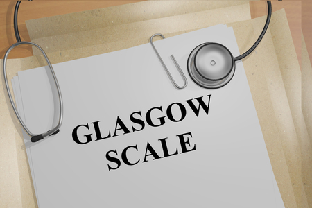 assessed: 3D illustration of GLASGOW SCALE title on medical documents. Medical concept. Stock Photo