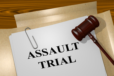 assault: 3D illustration of ASSAULT TRIAL title on Legal Documents. Legal concept. Stock Photo