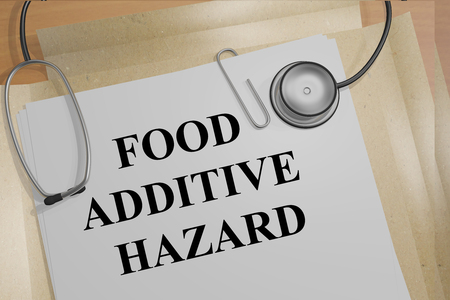 regulated: 3D illustration of FOOD ADDITIVE HAZARD title on medical documents. Medical research concept.